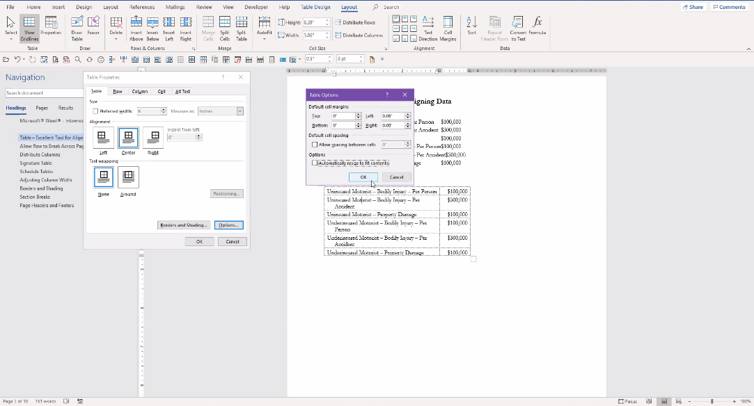 Microsoft Word - Table View Example