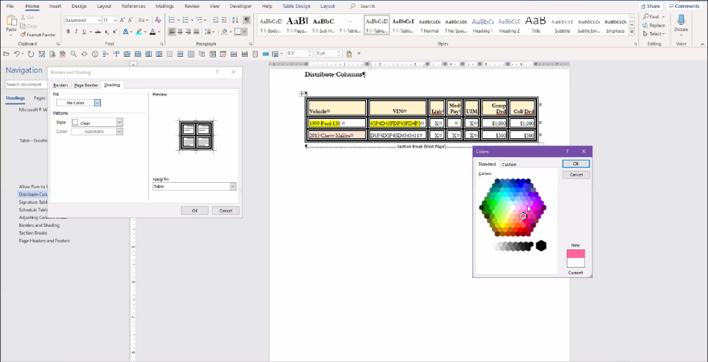Microsoft Word - Borders and Shading Example